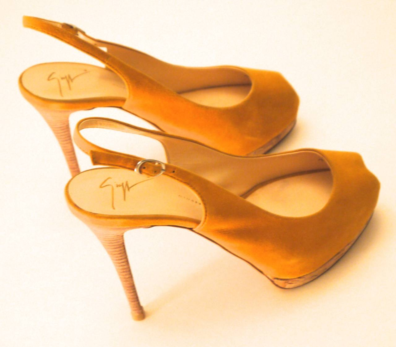 Orange Giuseppe Zanotti Yellow Suede Open Toe Heels with Sling Strap - Size 37 For Sale