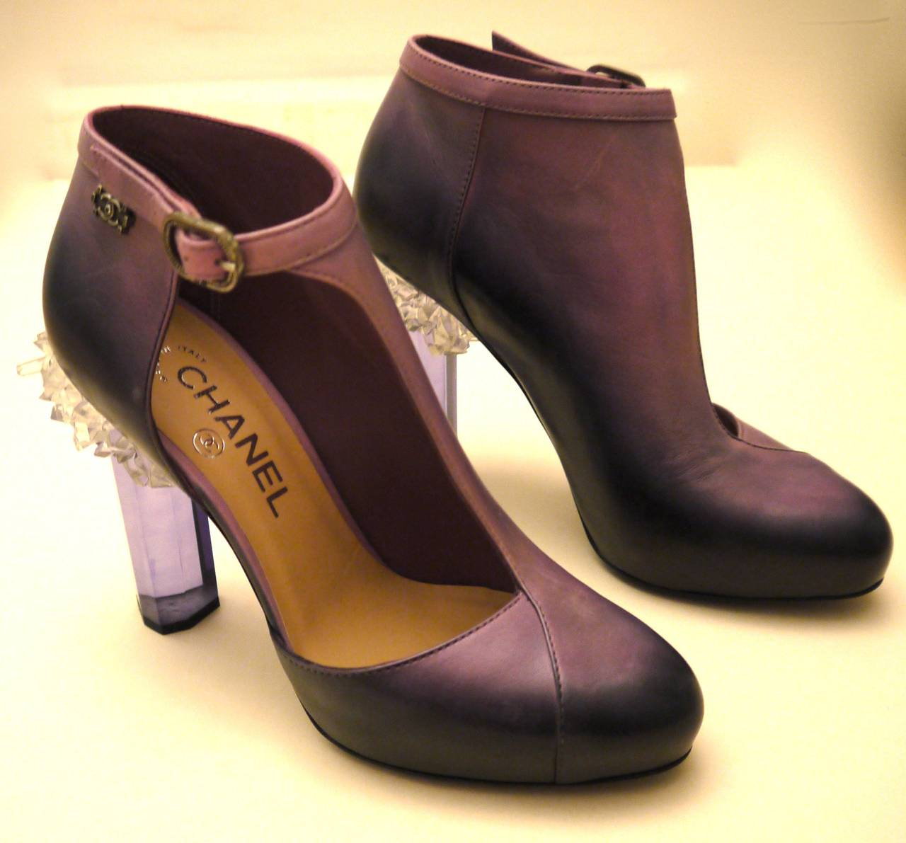 Rare Chanel Runway Boots - Purple and Black - Lucite Heels - Size 37.5 For Sale 1