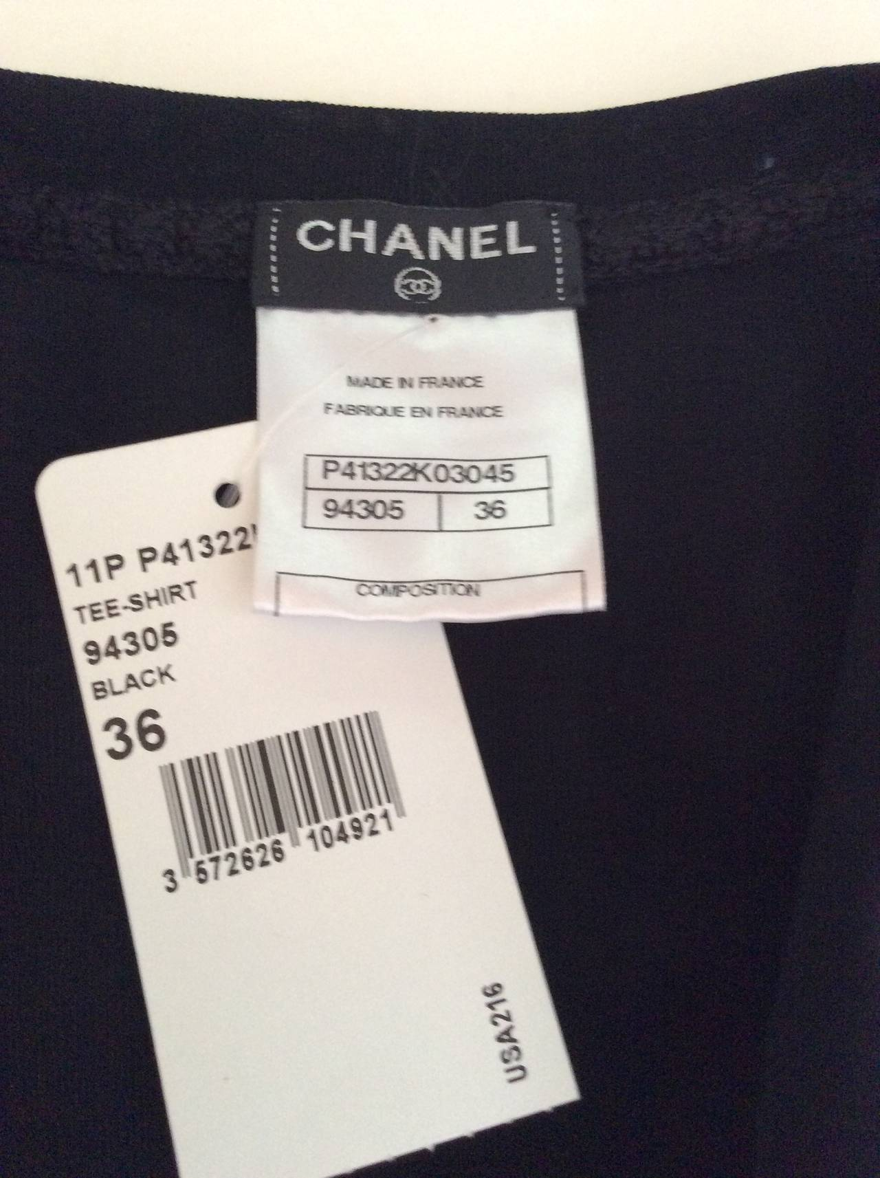 Chanel Black Tee Shirt - Size 36 6
