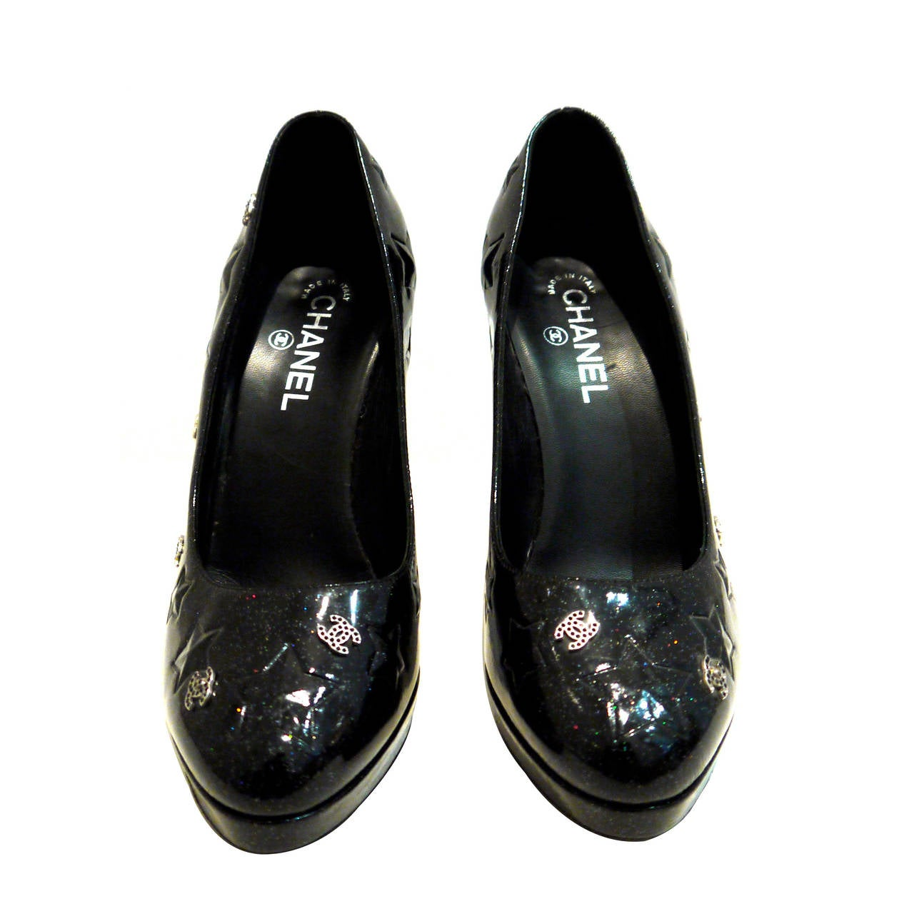 Chanel Black Patent Platform Shoes Heel Size 41 At 1stdibs