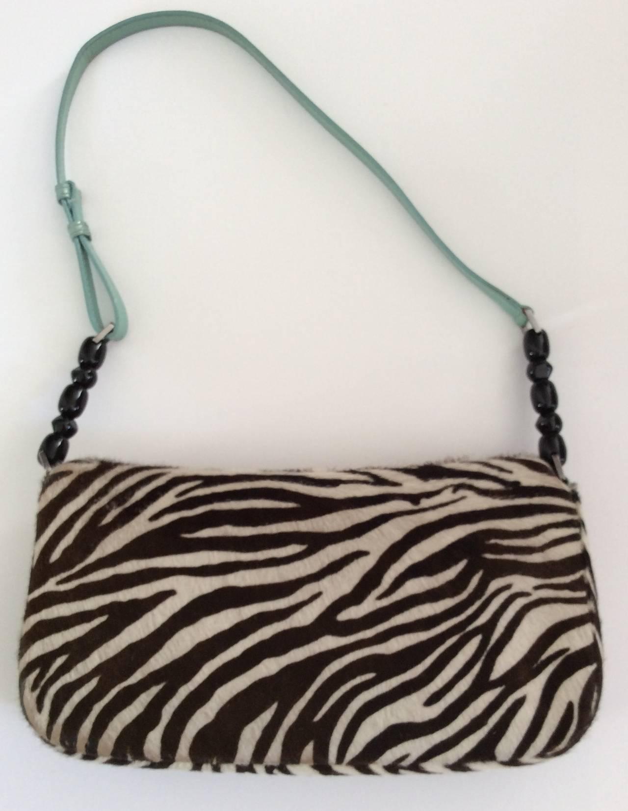 Dior Brown And Zebra Print Pony Fur Purse / Crossbody / Wallet Trio m6pH1