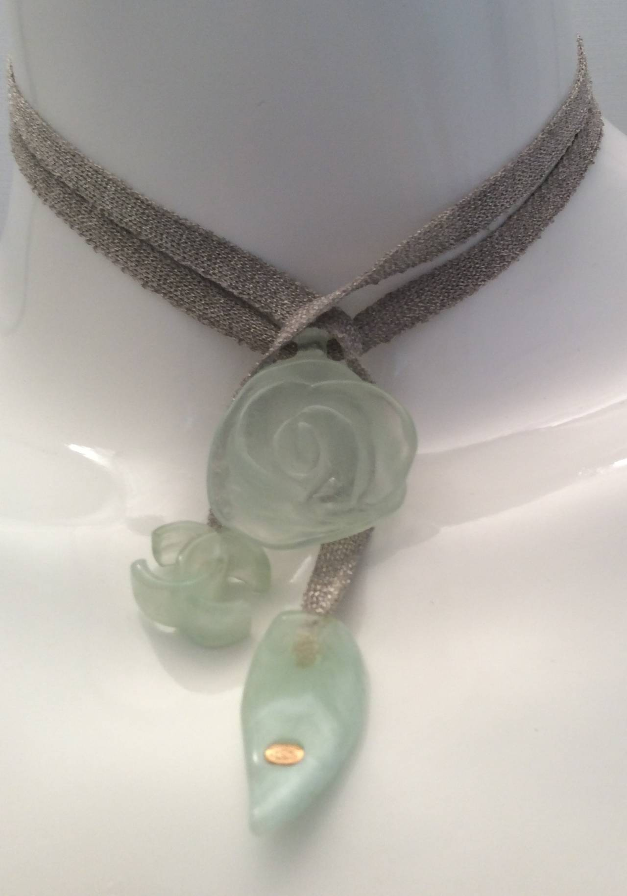 Women's Chanel Necklace with Silver Tone Ribbon and Lucite Adornments For Sale