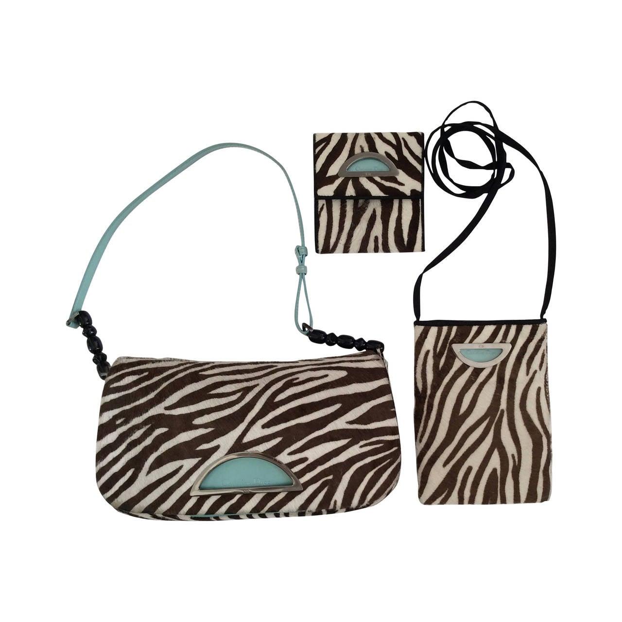 Christian Dior brown and zebra print pony fur Purse / Crossbody / Wallet Trio