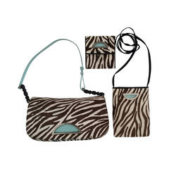 Christian Dior brown and zebra print pony fur Purse / Crossbody / Wallet Trio