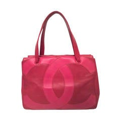 Chanel Leather Purse - Red Leather with Fucshia CC's on Both Sides