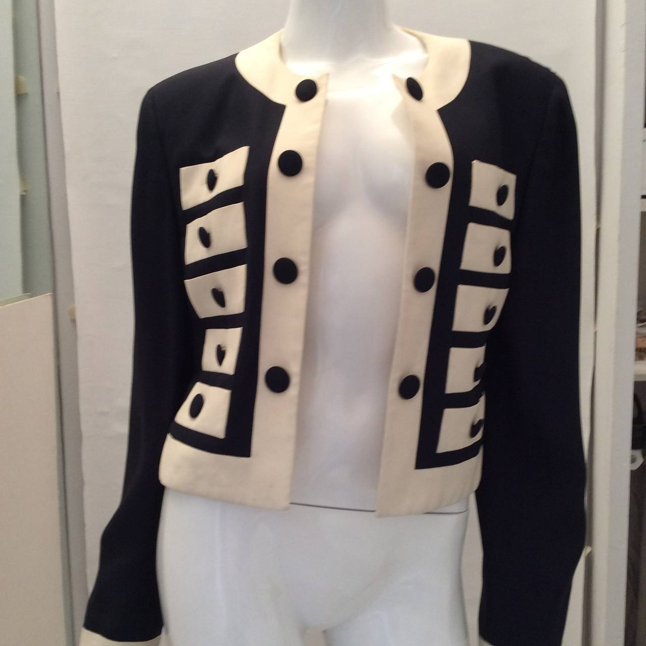Black Moschino Couture Jacket - Navy and White - Early to mid 90's For Sale