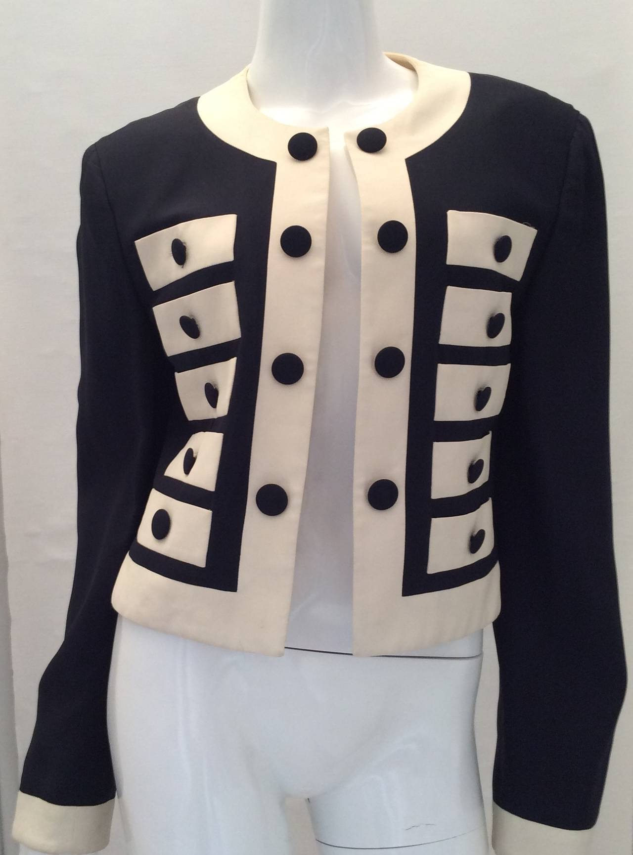 Moschino Couture Jacket - Navy and White - Early to mid 90's For Sale 1