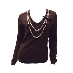 Moschino Cheap and Chic Brown Pearl Sweater