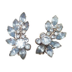 Blue Rhinestone Fab 1950's Earrings 1950's