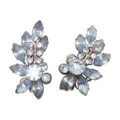 Blue Rhinestone Fab 1950's Earrings 1950's