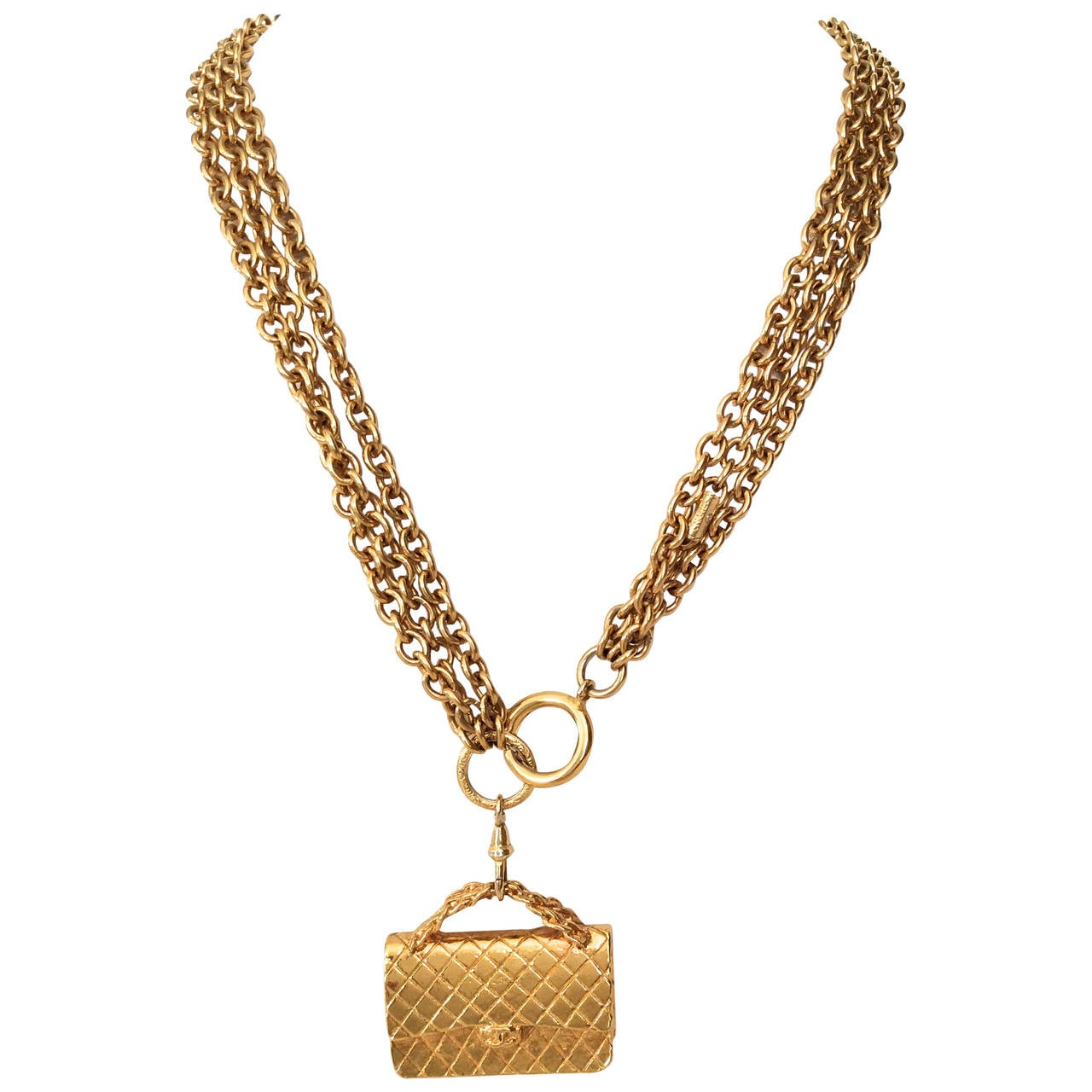 Gold Tone Chanel Triple Chain Necklace with Iconic Purse Pendant 1