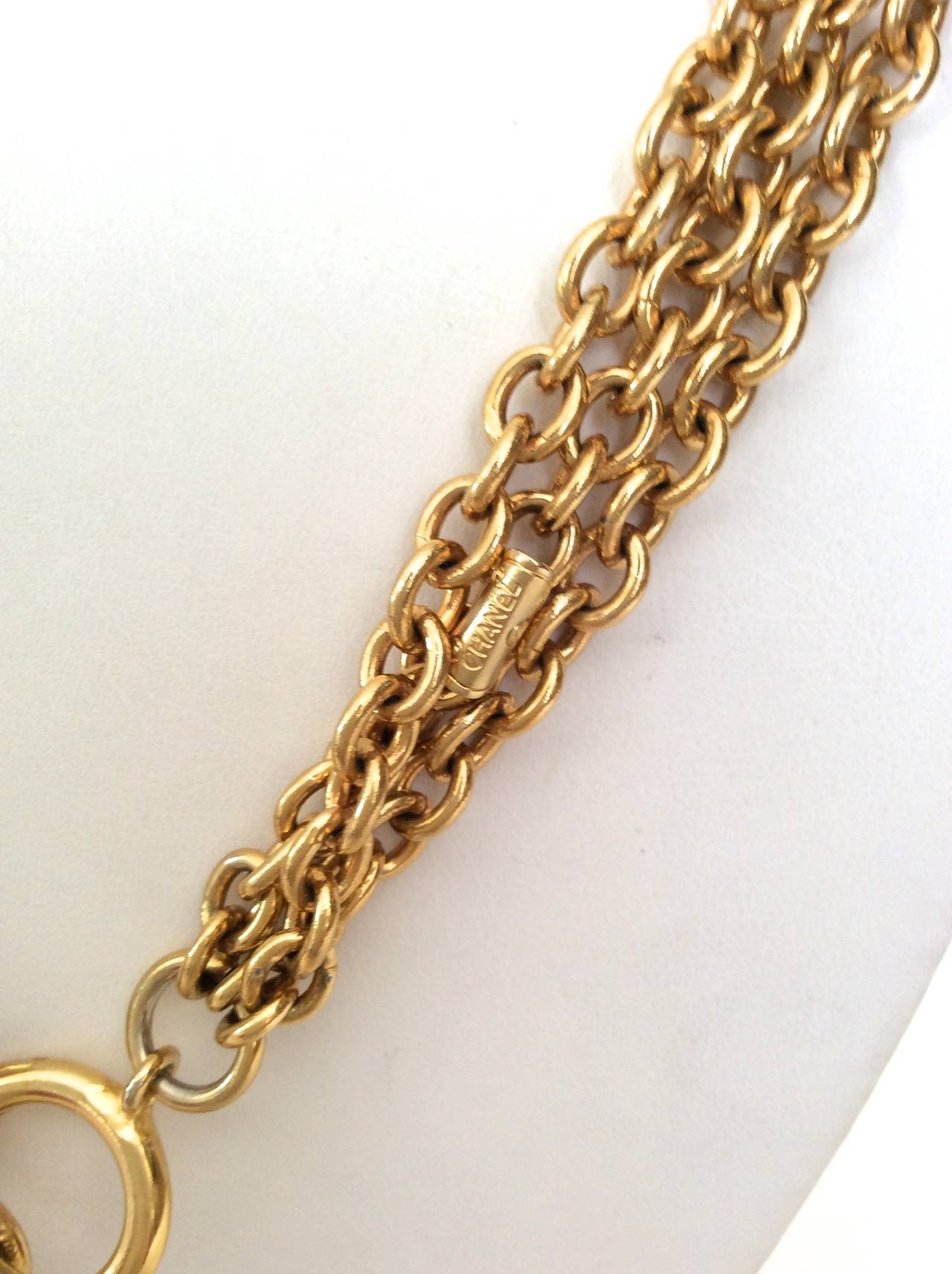 Gold Tone Chanel Triple Chain Necklace with Iconic Purse Pendant 6