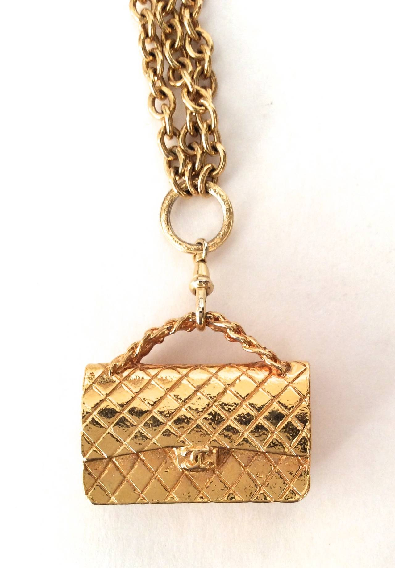 Gold Tone Chanel Triple Chain Necklace with Iconic Purse Pendant 5