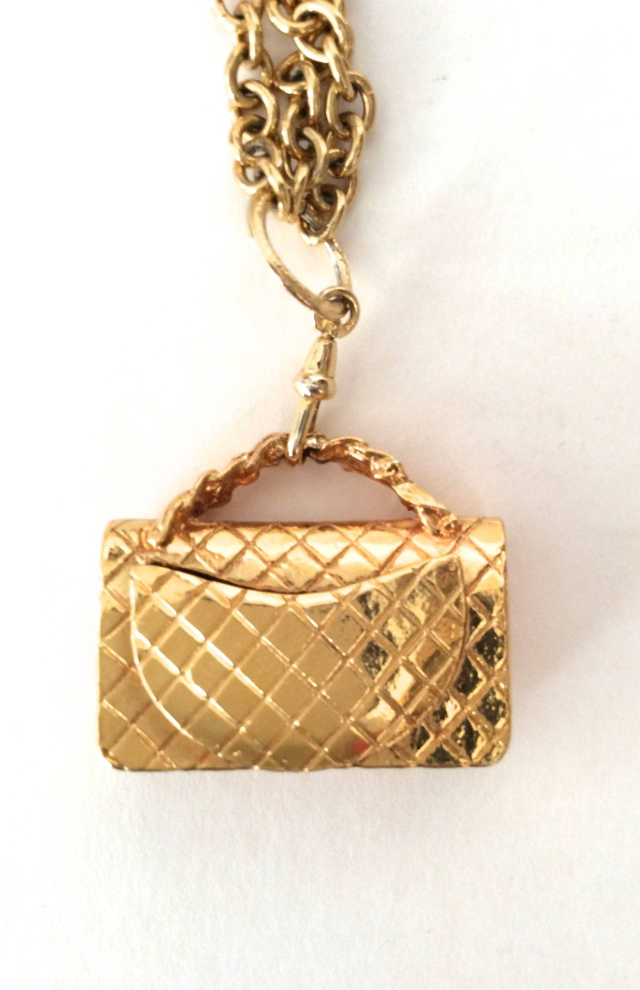 Gold Tone Chanel Triple Chain Necklace with Iconic Purse Pendant 2