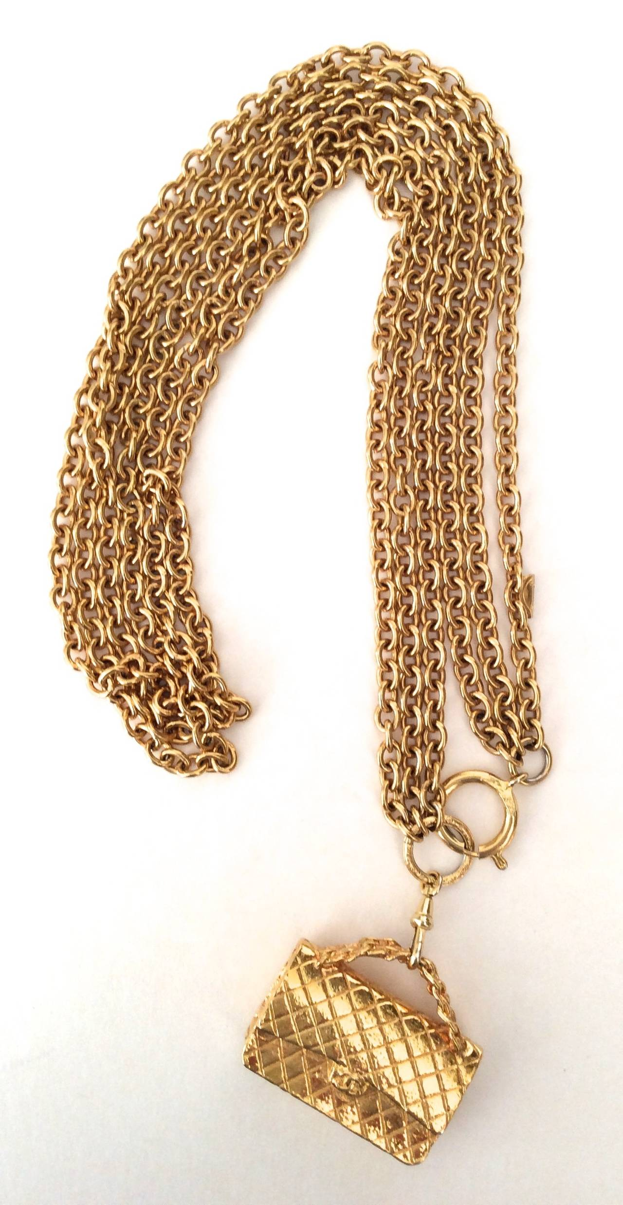 Gold Tone Chanel Triple Chain Necklace with Iconic Purse Pendant 8
