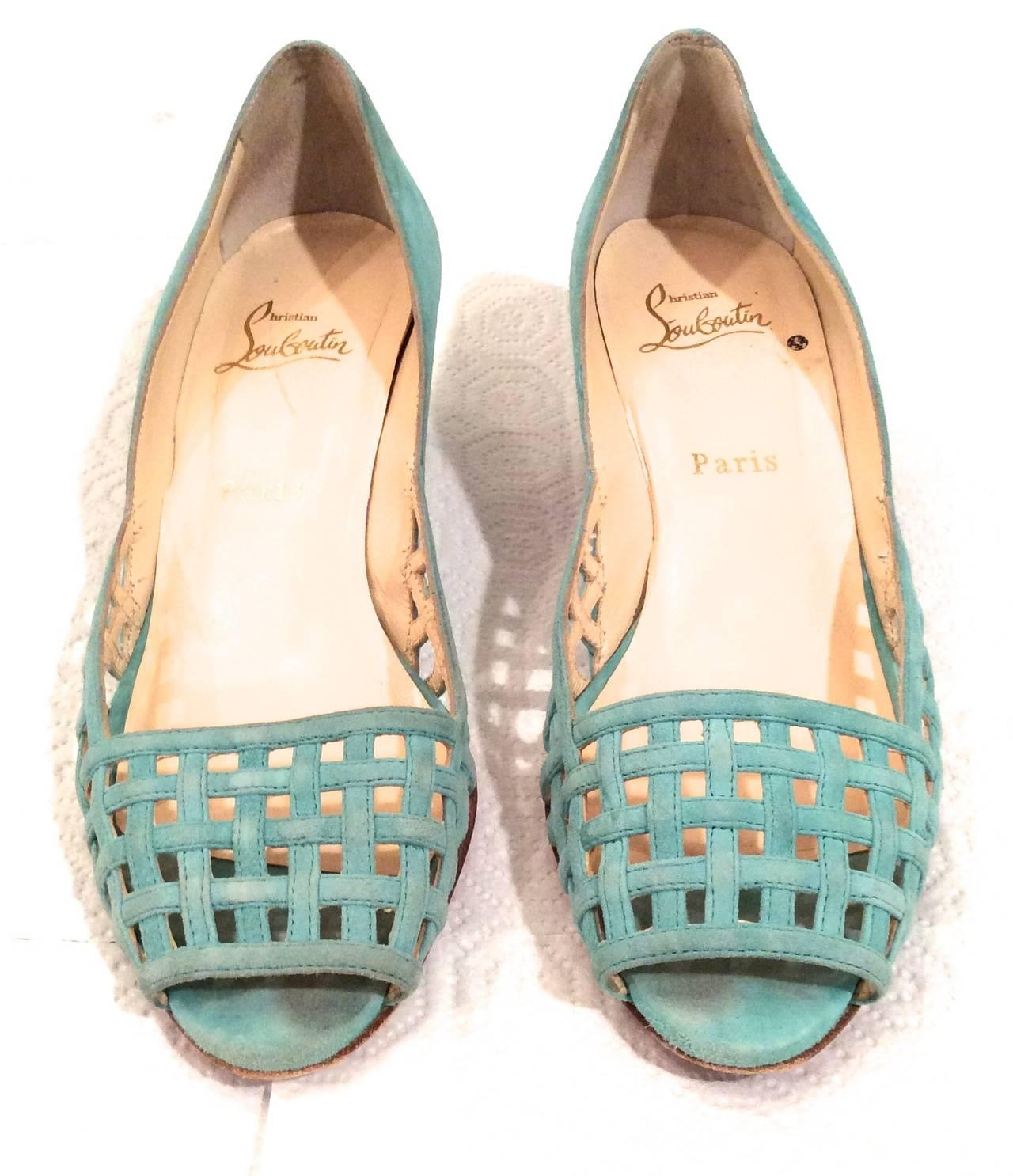 Christian Louboutin Shoes - Size 38 - Aqua Suede Open Toe Kitten Heel 6