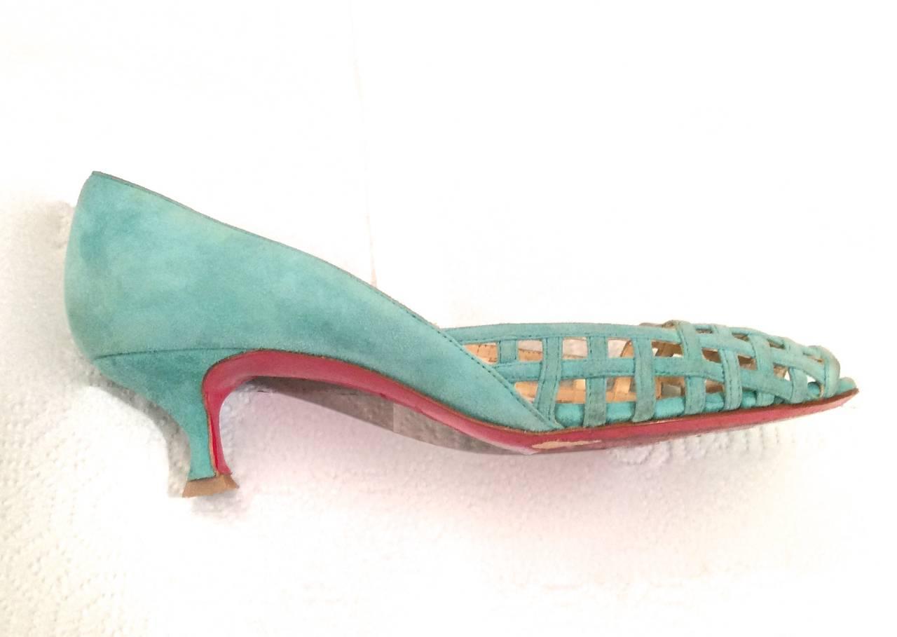 Christian Louboutin Shoes - Size 38 - Aqua Suede Open Toe Kitten Heel 2