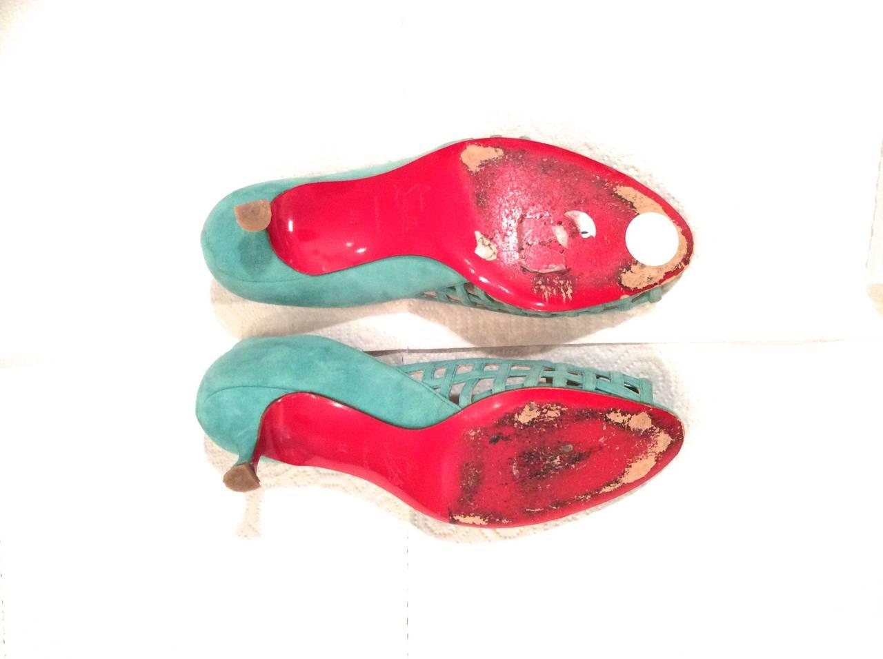 Christian Louboutin Shoes - Size 38 - Aqua Suede Open Toe Kitten Heel 4
