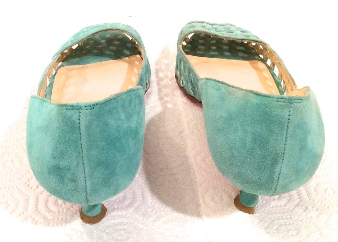 Christian Louboutin Shoes - Size 38 - Aqua Suede Open Toe Kitten Heel 5