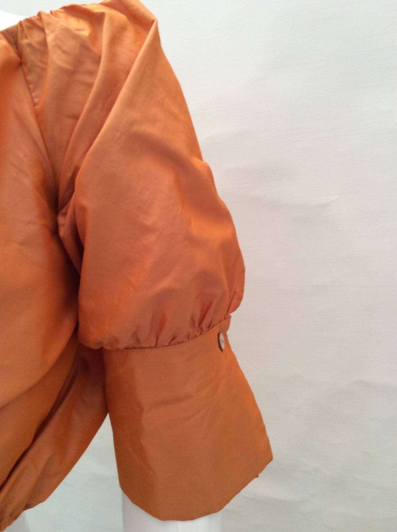 Max Mara Orange Silk Cropped Evening Top For Sale 1