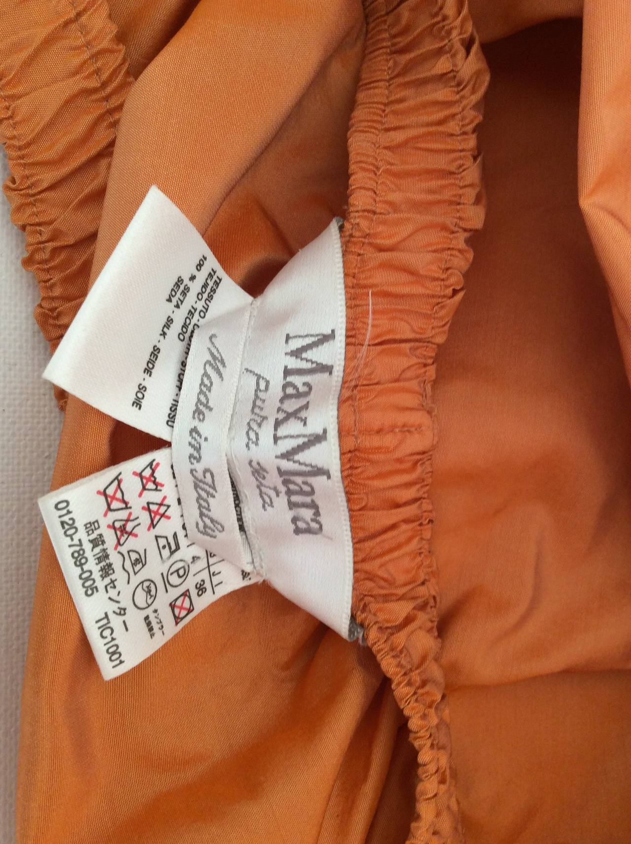 Max Mara Orange Silk Cropped Evening Top In Excellent Condition For Sale In Boca Raton, FL