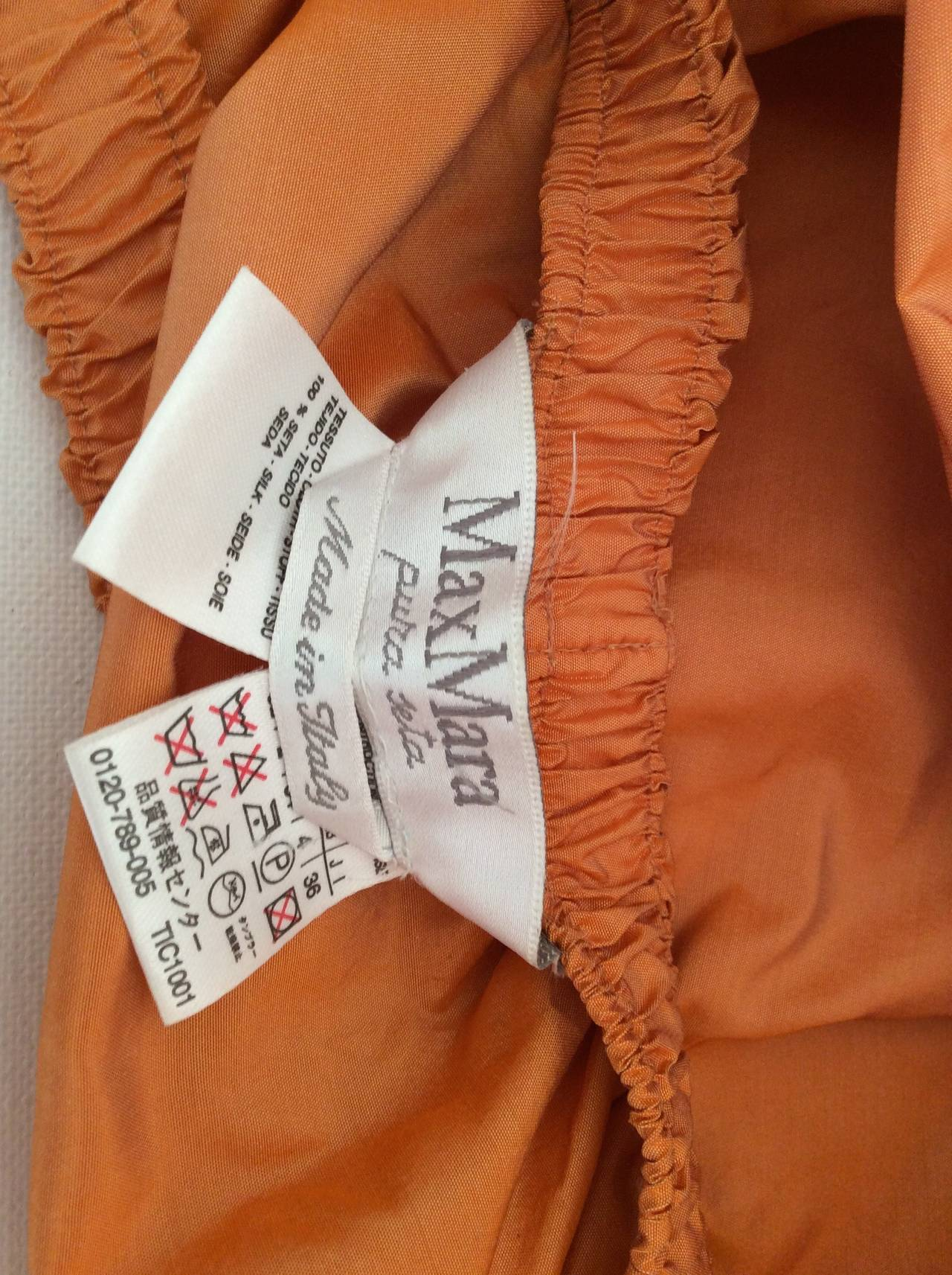 Women's Max Mara Orange Silk Cropped Evening Top For Sale