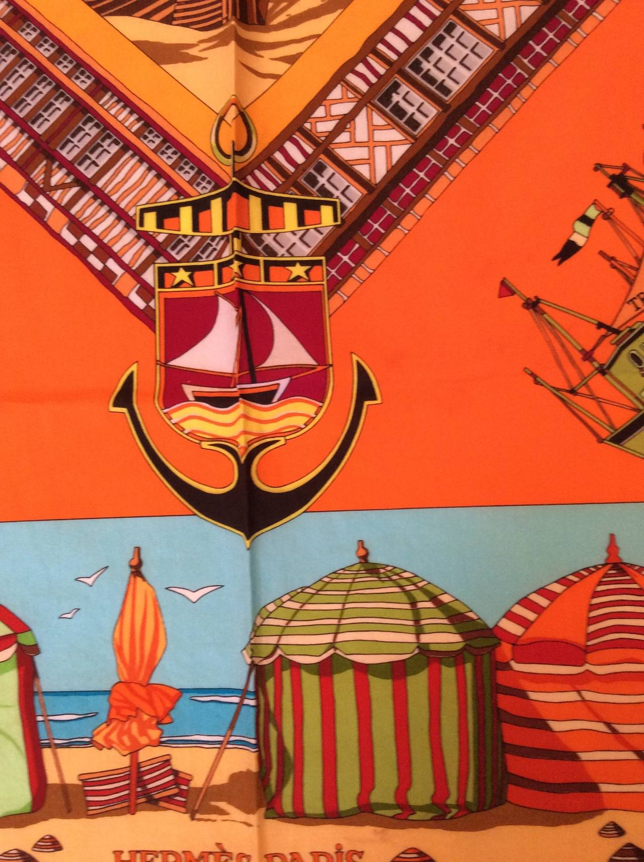 hermes scarf 100 cotton beaches of normandy at 1stdibs