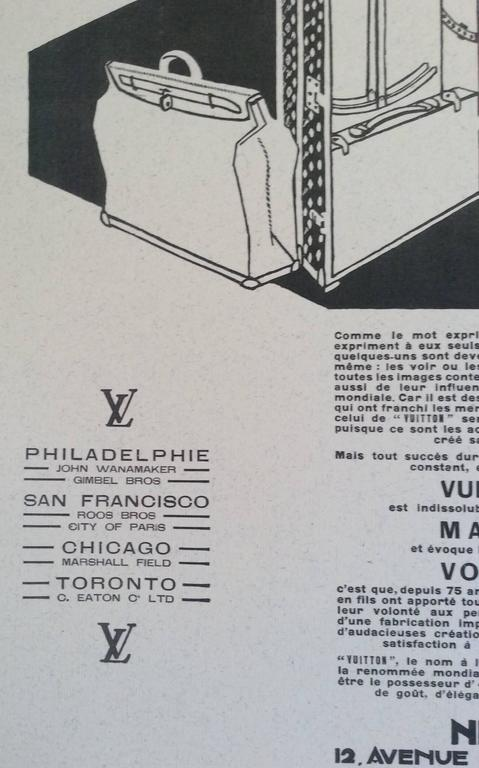 Louis Vuitton Vintage Ad Print - 1930's In Excellent Condition For Sale In Boca Raton, FL
