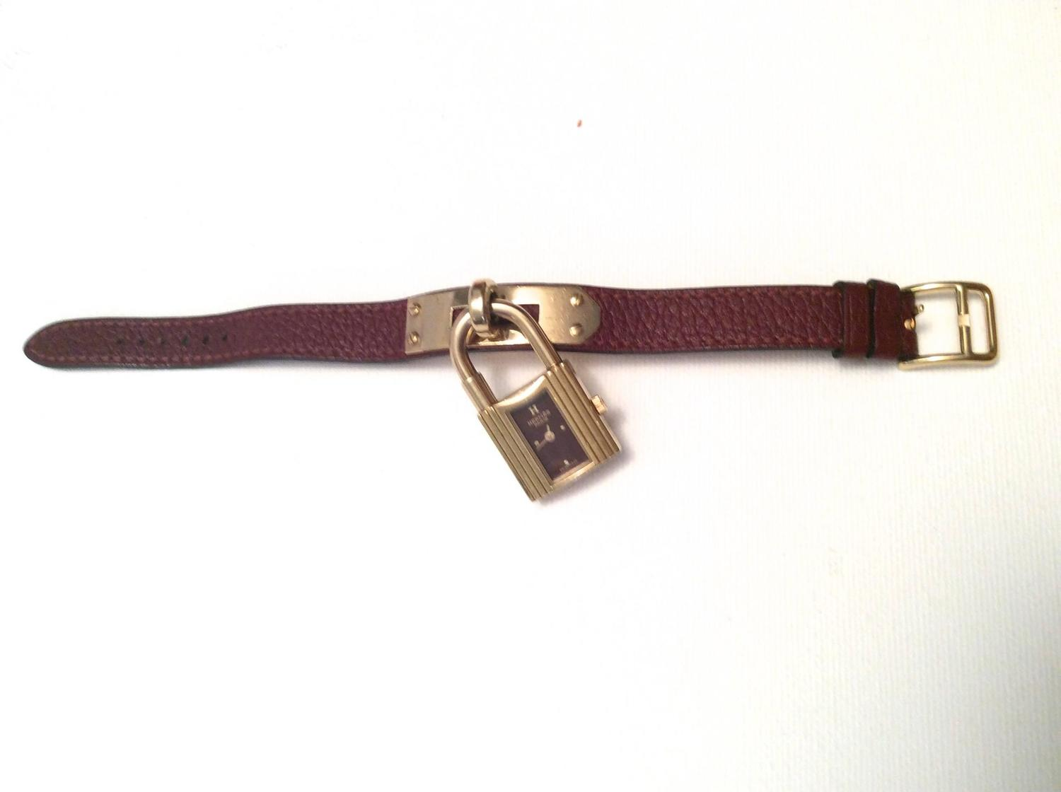 used birkin bags hermes - Hermes Kelly Watch - Gold Tone - Burgundy with Matching Strap For ...