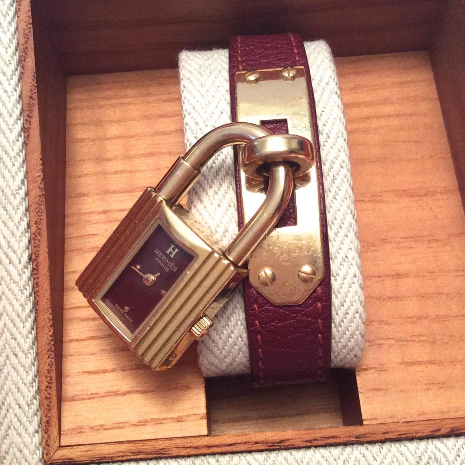 hermes paris wallets - Hermes Kelly Watch - Gold Tone - Burgundy with Matching Strap For ...