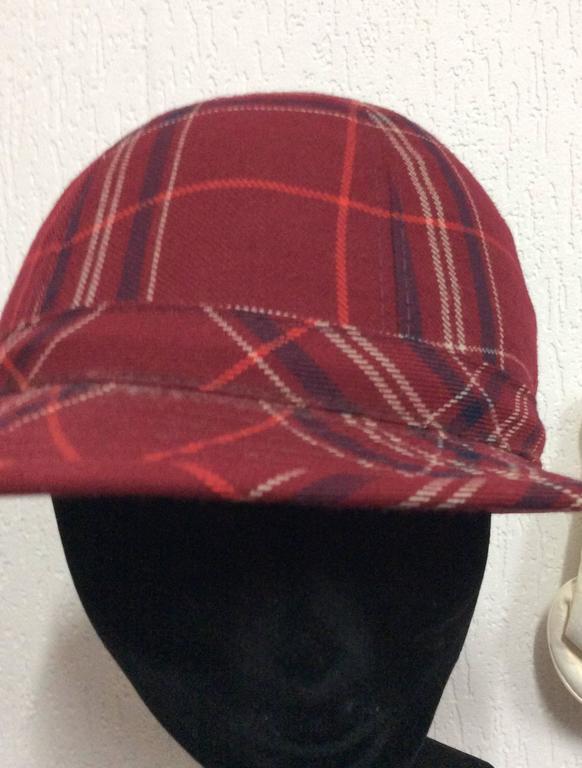 Black Plaid 1970's Hat For Sale