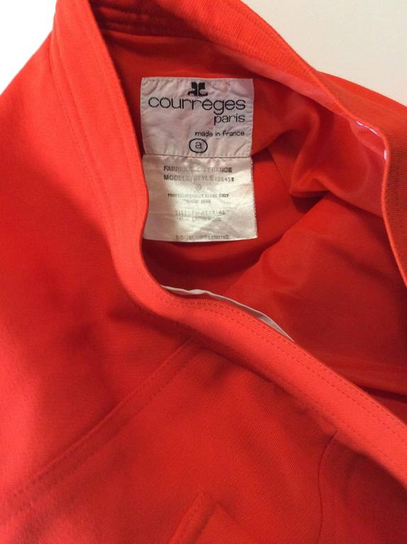 Vintage Courreges Orange Wool Gaberdine Skirt  8