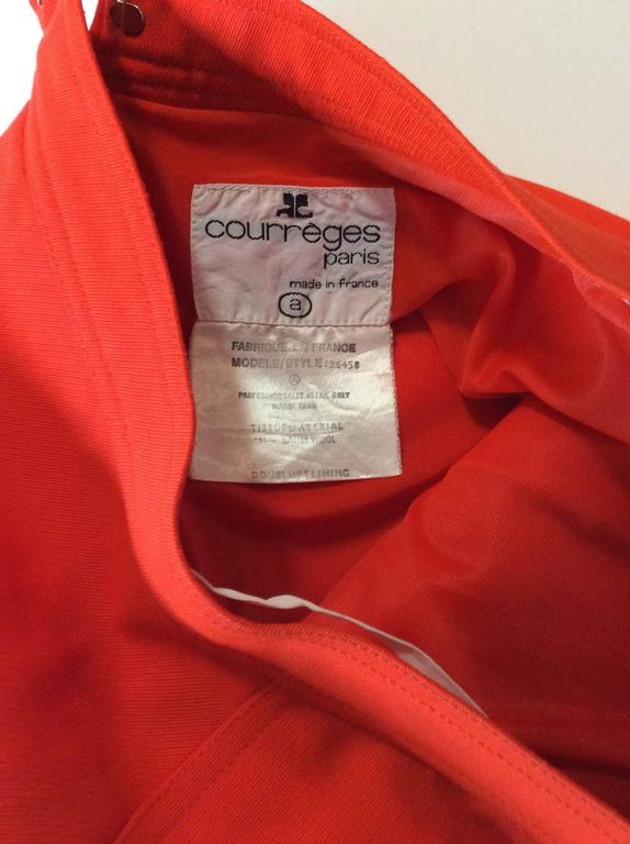 Vintage Courreges Orange Wool Gaberdine Skirt  9