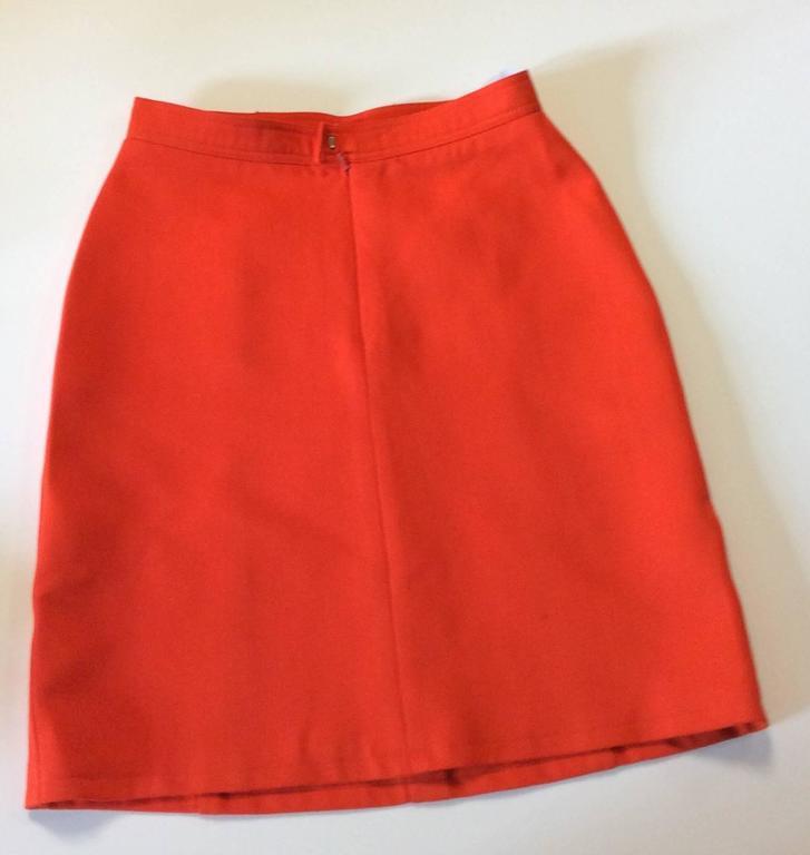 Vintage Courreges Orange Wool Gaberdine Skirt  2