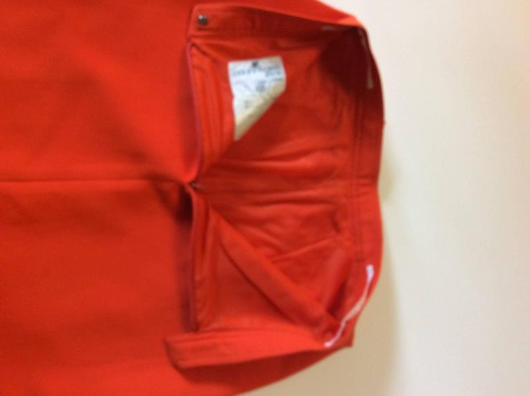 Vintage Courreges Orange Wool Gaberdine Skirt  3