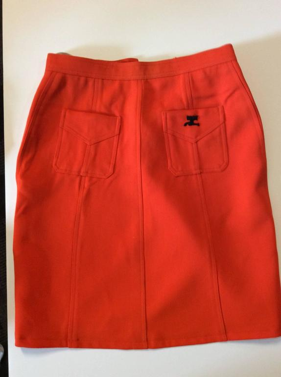 Vintage Courreges Orange Wool Gaberdine Skirt  7