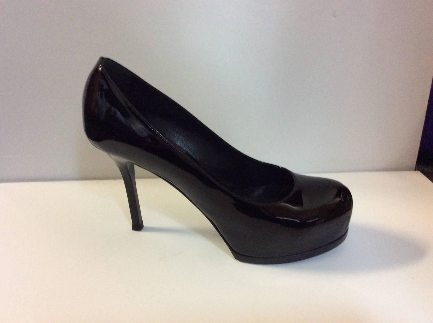 yves laurent ysl shoes black patent leather