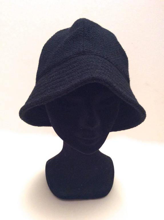 Chanel Black Boucle Hat with Silver Tone Camellia  For Sale 1