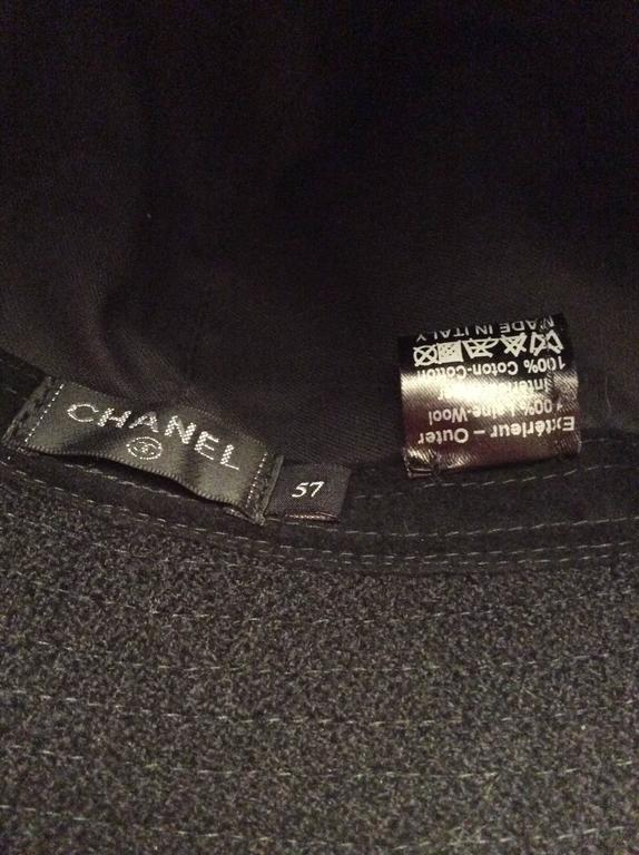 Chanel Black Boucle Hat with Silver Tone Camellia  For Sale 2