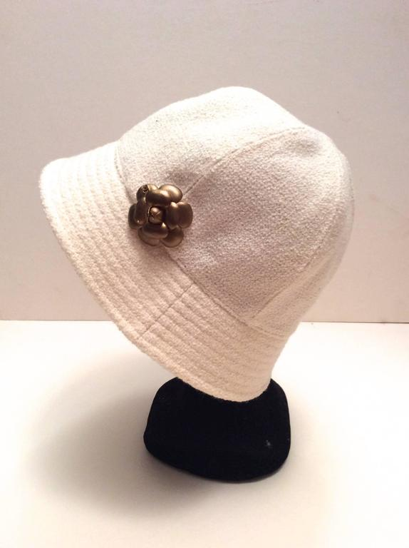 Chanel White Boucle Hat with Gold Tone Camellia - Size 58 5