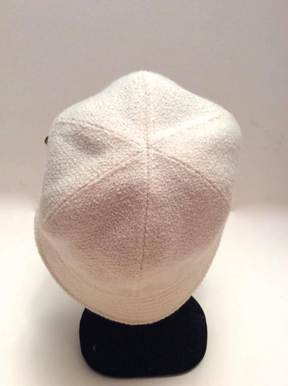 Chanel White Boucle Hat with Gold Tone Camellia - Size 58 3