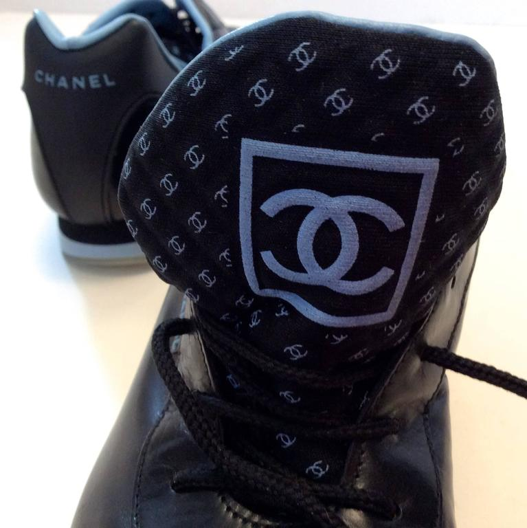 New Chanel Black Sneakers - Size 35.5 For Sale 2