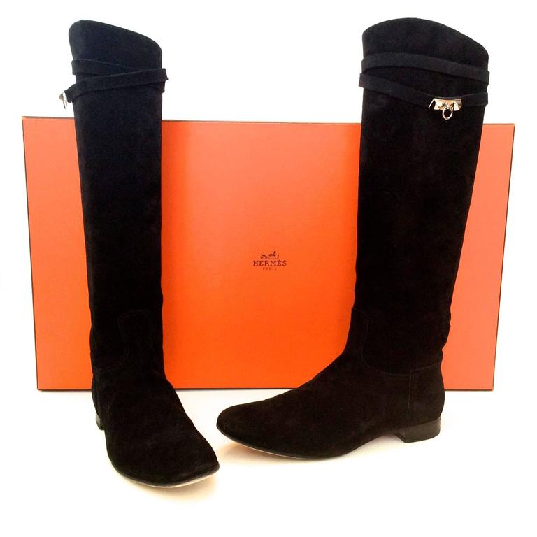 Hermes Black Suede Riding Boots - Size 37.5 10