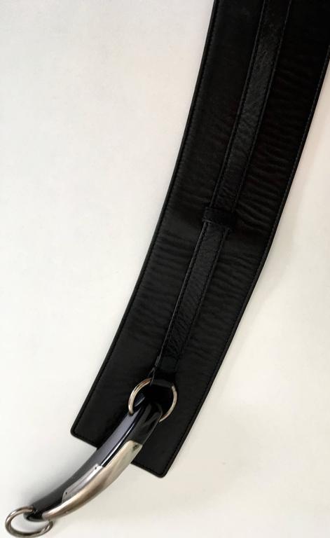 Yves Saint Laurent (YSL) Belt - Black Leather - Mombassa Horn  For Sale 4