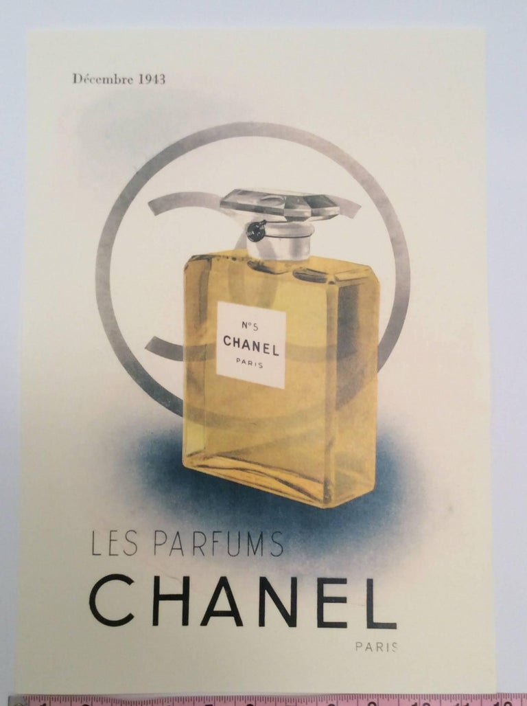 This beautiful print of an ad from the 1940's for Chanel is a gorgeous rendering of a perfume bottle in color. The ad is printed on professional print stock and makes for a perfect addition to any personal art or fashion collection. Excellent for