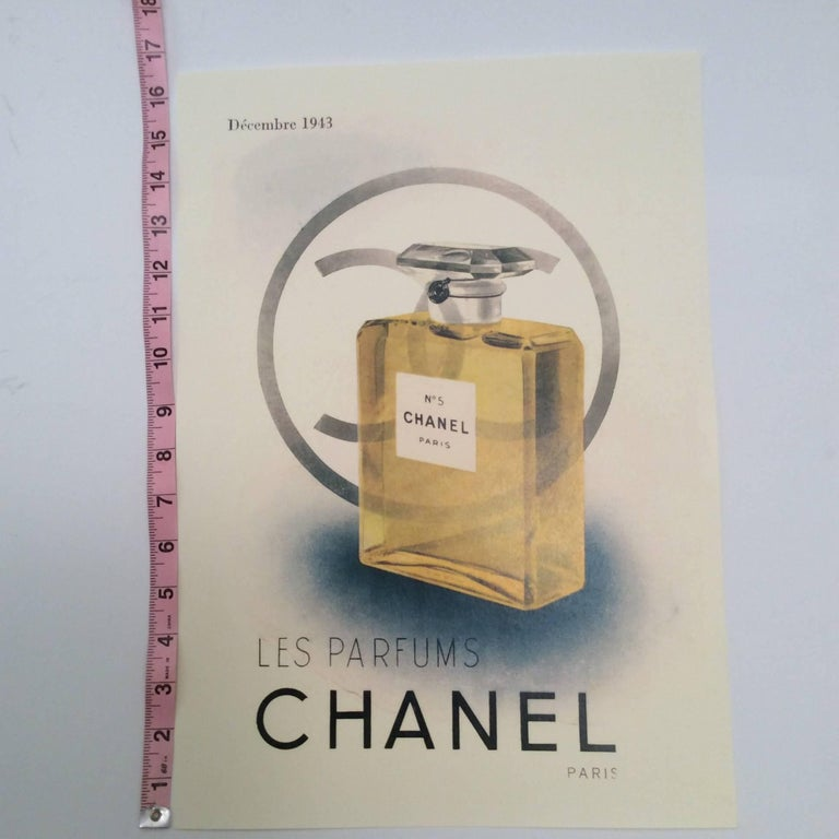 Beige Chanel Vintage Ad Perfume Bottle Ad Print - 1940's For Sale