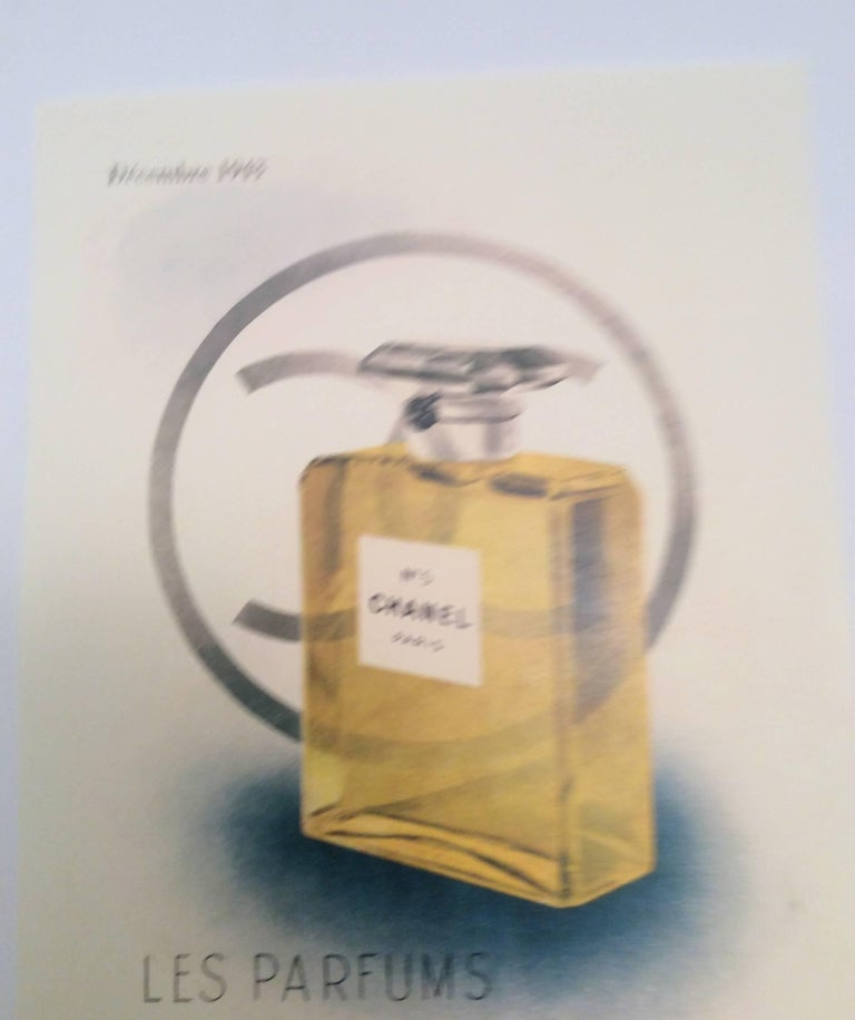 Chanel Vintage Ad Perfume Bottle Ad Print - 1940's In Excellent Condition For Sale In Boca Raton, FL