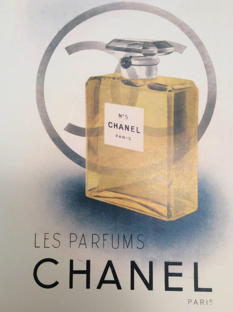 Women's or Men's Chanel Vintage Ad Perfume Bottle Ad Print - 1940's For Sale