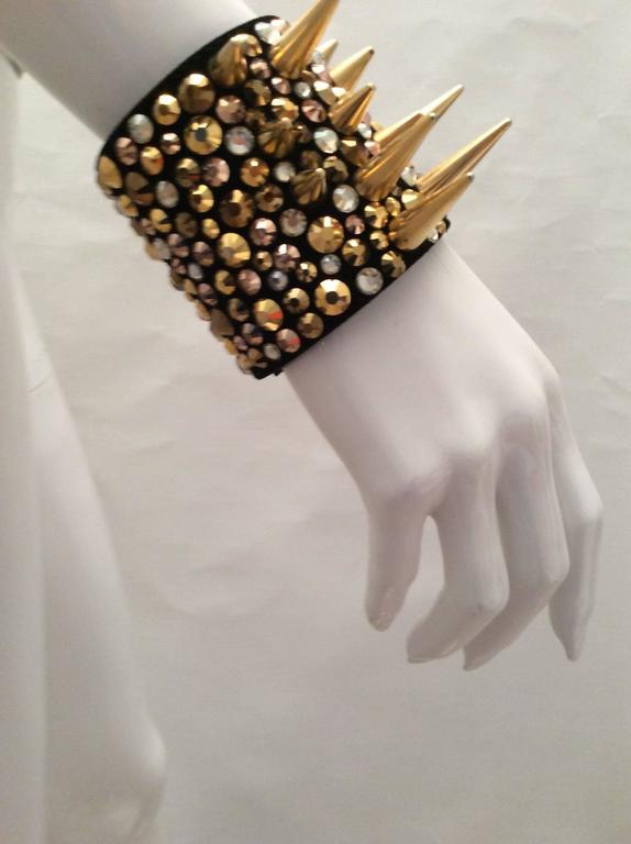 Giuseppe Zanotti Studded Leather Cuff Bracelet For Sale 1