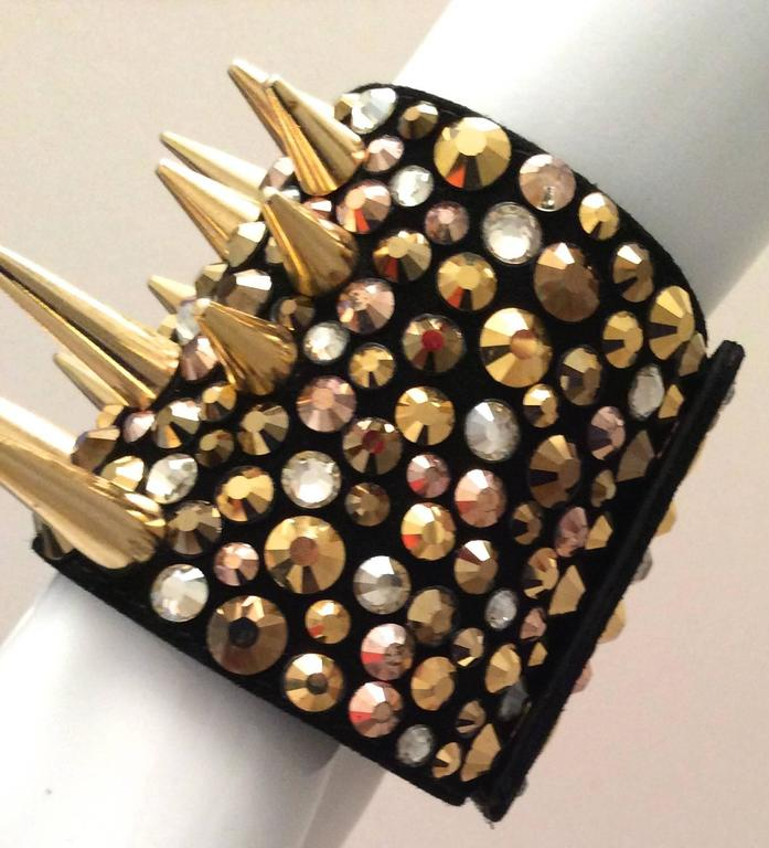 Giuseppe Zanotti Studded Leather Cuff Bracelet In Excellent Condition For Sale In Boca Raton, FL